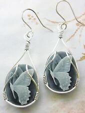 R268 Butterfly Cameo  925 Sterling Silver SS Earrings