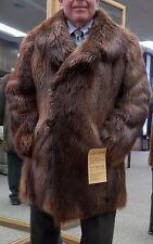 """Man's Rust Long Hair Beaver 35"""" Carcoat - Size 44"""