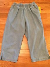 NWT Cathy Daniels Denim ELASTIC WAIST PULL ON Capri Pants Womens Small S