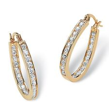 PalmBeach Jewelry 2.52 TCW Cubic Zirconia Gold Tone Inside-Out Hoop Earrings