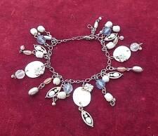 Vtg Silver Tone Charm Bracelet w/dangle drop beads & faux pearls
