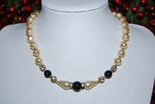 VINTAGE STRAND NECKLACE FAUX BAROQUE GLASS PEARLS & BLACK BEADS AND RHINESTONES