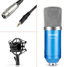 NW-700 Condenser Microphone+Shock Mount+Power Cable+Anti-wind Foam Cap(Blue