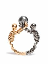 Alexander McQueen Double-skeleton ring gold-tone gunmetal Brass Pearl Top Size13