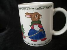 Coffee Mug tea cup Christmas mother rabbit  bunny pulling sleigh baby holiday