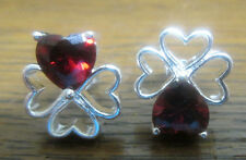 Sterling Silver Clover Heart Earrings with Red Crystal