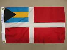 "Bahamas Courtesy Red Ensign Nylon Outdoor Indoor Flag Printed Grommets 12"" X 18"""