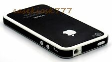 for iPhone 4 4s bumper case hard silicone black n  white + screen protector film