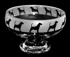 BEAGLE *DOG GIFT* Boxed Footed Glass Bowl with BEAGLE FRIEZE design