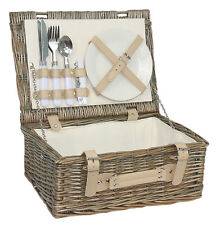 Willow Cestino Da Picnic 2 persona all'aperto in Vimini Cesto Set Piatti Posate