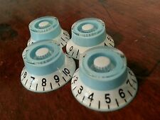 4 Guitar Top Hat Volume / Tone Knobs.. Baby Blue/White.. JAT CUSTOM GUITAR PARTS