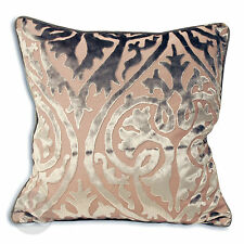 """Velvet Damask Cushion Cover - Contemporary Taupe Soft Scatter Cushion 18"""" x 18"""""""