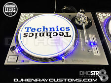 2 custom silver/chrome Technics SL 1200 mk5's w blue leds & halos dicer inlays