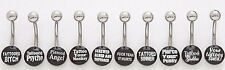 5 Logo Belly Button Rings WHOLESALE Navel Body Jewelry Lot Tattoo Bad Words