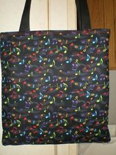 Music Note tote bag Musical Bright Colorful Handmade Purse LAST ONE RED HANDLES