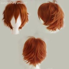 Short Wig Anime Cosplay Costume Full Head Wigs Orange Synthetic Curly Hair Tail