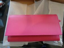 Pottery Barn Teen Classic Leather Jewelry envelope bright pink New in box