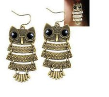 "HUGE HOT NEW TRENDY PUNK GOTH ADORABLE FLUTTERING BRONZE OWL EARRINGS 4"" SALE"
