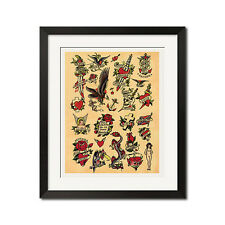 Sailor Jerry Dagger Eagle Skull Cross Swallow Vintage Tattoo Flash Poster Print