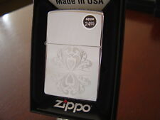 TWO HEARTS VALENTINE'S DAY HIGH POLISH CHROME ZIPPO LIGHTER MINT IN BOX
