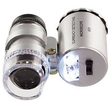 60x Handheld Pocket Microscope Loupe Jeweler Magnifier With LED Light Engaging