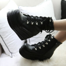 New womens shoes Goth High platform wedge pump pu leather lace up ankle boots