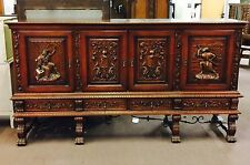 Rare Antique English Edwardian Period Viking Gothic Style Carved Sideboard