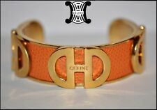 SUPERB CHIC VINTAGE SIGNED CELINE ORANGE LEATHER AND GOLD PLATED CUFF BRACELET