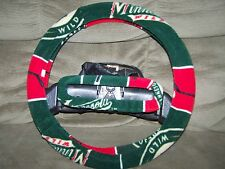 MINNESOTA WILD SQUARES FLEECE STEERING WHEEL COVER SET