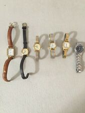 Vintage Ladies Wristwatches Lot of 6 Fossil, Timex X3, Lorus, Carriage