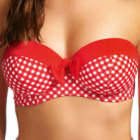 New Freya Swimwear Tootsie Underwired Bandeau Bikini Top Poppy Check Red 3603