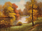 Beautiful oil painting nice autumn landscape river cross the forest canvas