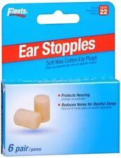 Flents Ear Stopples Wax-Cotton Ear Plugs 6 Pairs (Pack of 4)
