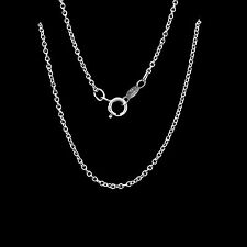 """18"""" Round Cable Link Chain 14k Solid White Gold Necklace for Pendant or Charm"""