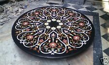 "48"" Black Marble Dining Table Top Rare Marquetry Inlay X-mas Decor H1974A"