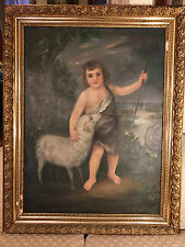 "Huge Antique Margaretha E Heilman 1890  ""Shepherd Boy And Sheep"" Oil Painting"