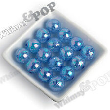 20mm Beads 12pcs Ocean Blue Crackle AB Ice Cube Chunky Round Gumball Bubblegum