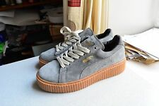 Rihanna Puma Fenty Velvet Charcoal Glacier Light Gray Creepers Size 7.5UK