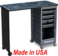 MANICURE NAIL TABLE C119 BLACK MARBLE LAMINATED TOP MADE IN USA BY DINA MERI
