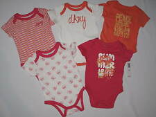 NWT $48 DKNY 5 pack bodysuits romper GIRL size 6/9M multi color