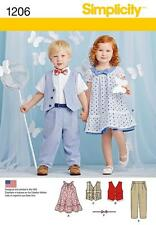 SIMPLICITY SEWING PATTERN TODDLERS PANTS VEST DRESS BOW TIE  1/2 - 4 1206