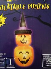 New Halloween 4' Jack-O-Lantern Pumpkin Airblown Inflatable LED Yard Decoration