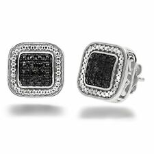 1/10ct Black Diamond Stud Earrings in .925 Sterling Silver