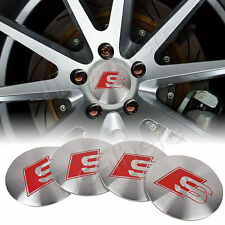 AUDI 56mm SILVER RED WHEEL RIM CENTRE CAP COVER DECAL STICKER S LINE A3 A4 A5 A6