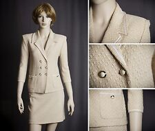 ST.JOHN COLLECTION KNIT SUIT JACKET SKIRT PALE PEACH / IVORY SIZE 6 GORGEOUS!!!!
