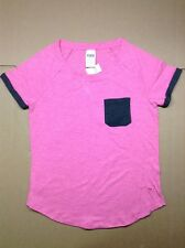 NWT Victoria's Secret PINK Boyfriend Pocket T Shirt Pink & Solid Gray Pocket XS