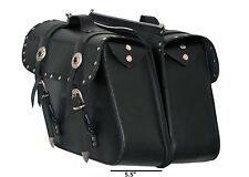 Leather Zip Off Chrome Plated with Studs Motorcycle Panniers Saddle Bag