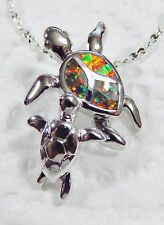 Silver 925 Plated Pendant & Chain Small Orange Lab Fire Opal TURTLE MOM & CHILD