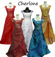 Cherlone Satin Ball Gown Wedding/Evening Formal Party Bridesmaid Dress UK 8-26