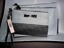 NWT Victoria's Secret Silver Gray Makeup Train Case Cosmetic Bags Trio Set of 3
